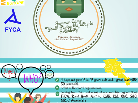 """FYCA is announcing a call for """"Youth paving the way to solidarity"""" Summer Camp"""