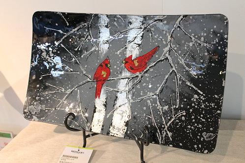 Plate - 2 Red Birds 30 cm