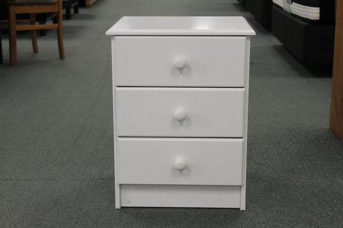 Kingston White 3 Drawer Bedside Cabinet