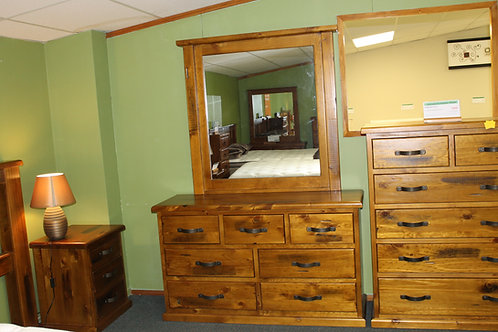 American Rustic 3 over 4 Dresser and Mirror
