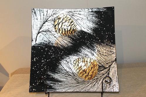 Plate - Two Pine Cones 50 cm