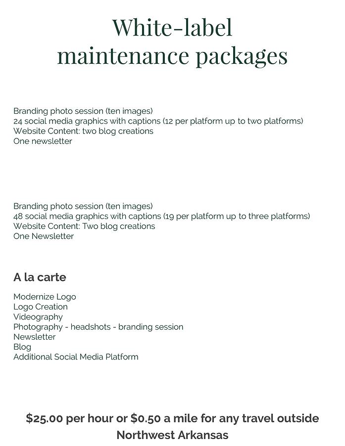 White label maintenance