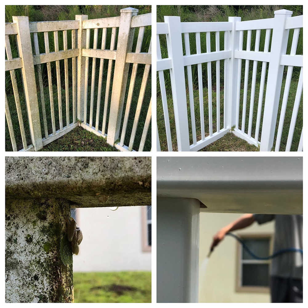 Pressure washing a fence, before and after