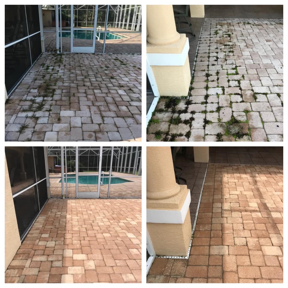 before and after cleaning paves with weed growth