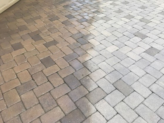 pavers before and after sealed