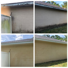 Before and after of a pressure washed house