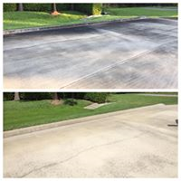 Before and after of a dirty driveway