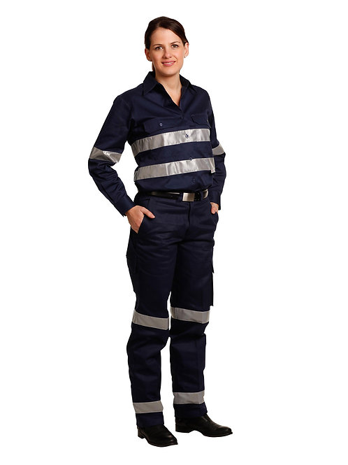 Ladies' Heavy Cotton Drill Cargo Pants With 3m Tapes