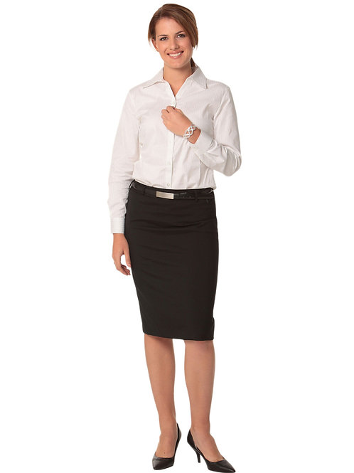 Women's Wool Blend Stretch Mid Length Lined Pencil Skirt