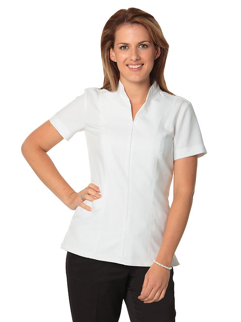 Women's Full Zip Front Short Sleeve Tunic