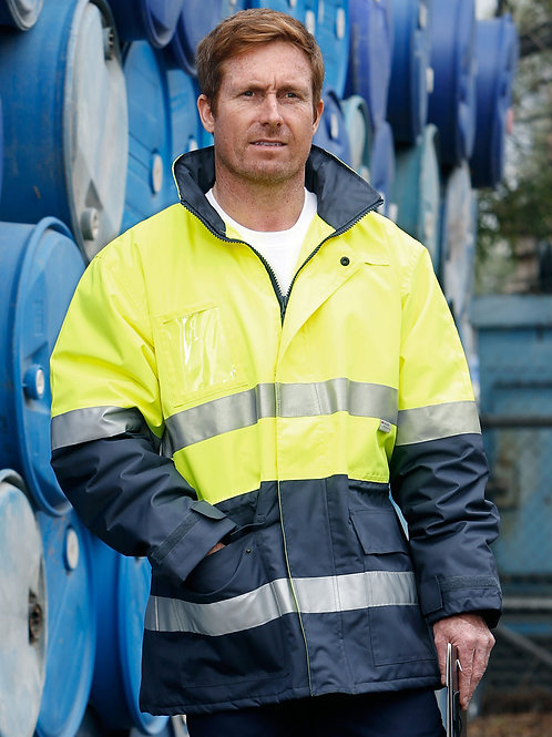 High Visibility Long Line Jacket With Reflective Tapes