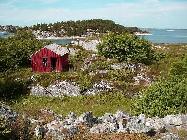 Hytte på Gjøssøy, Hitra. Utsikt fra tomten