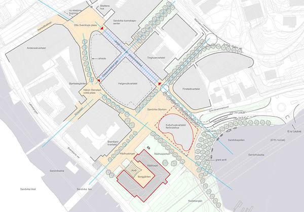 Sandvika, øst, byplan, illustrasjonsplan