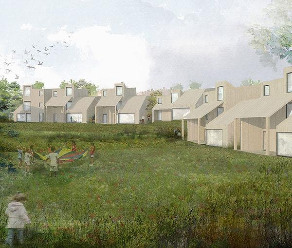 små hus bebyggelse i Trondheim: modell av tildlig skisseprosjekt