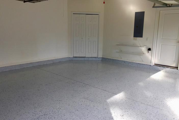 2-car epoxy coated garage floor