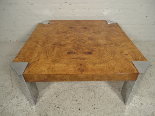Chrome Burl Wood Coffee Table For Thayer Coggin Beautiful Grain With Accenting Sides