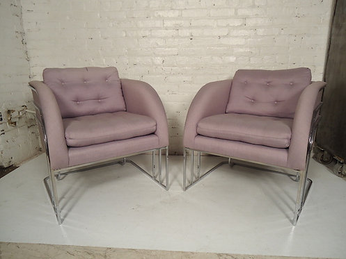 Pair of Milo Baughman Chrome Club Chairs