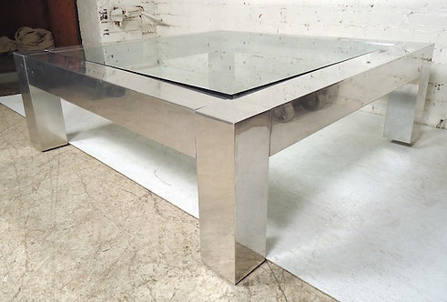 Square Chrome Glass Coffee Table in the Style of Paul Evans