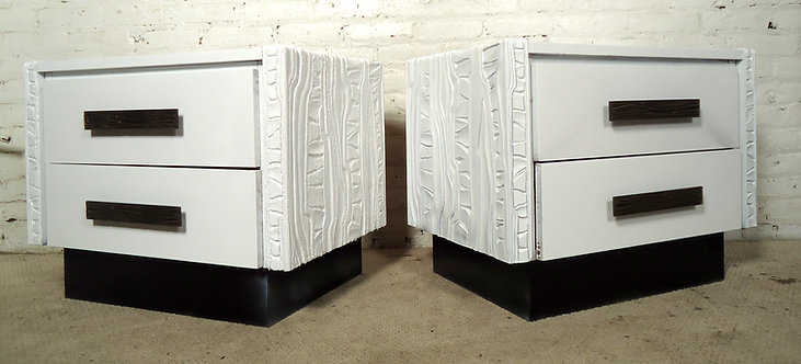 Pair of Mid-Century Sculpted White Nightstands