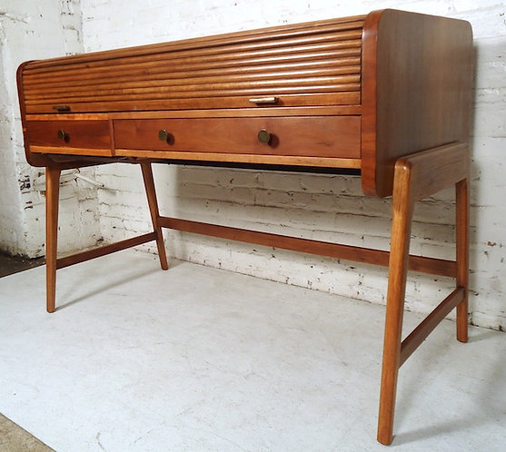 Large Midcentury Roll Top Desk By Sligh & Lowry
