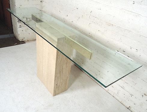 Elegant Travertine Console Table by Artedi