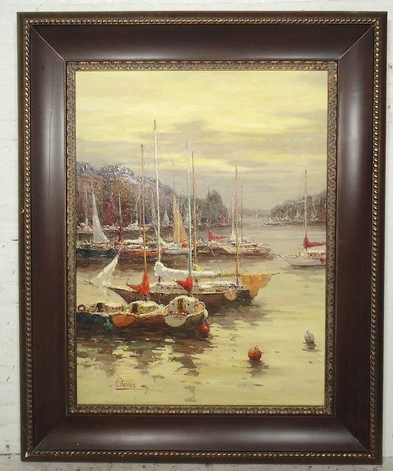 Large Hand-Painted Boat Scene