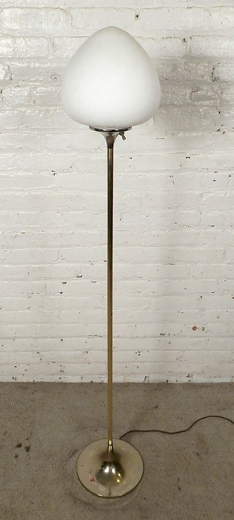 Brass Laurel Floor Lamp w/ Mushroom Shade