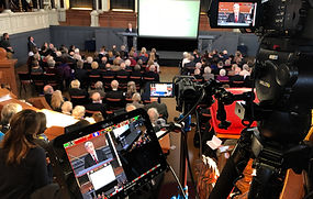 Multi-camera lecture filming and slide capture by Oxford Film Shed at the Sheldonian Theatre, Oxford