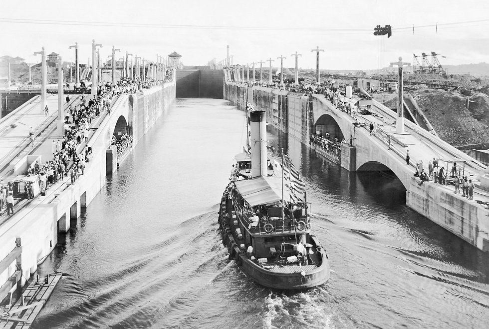 a steamship passing through the panama canal in the early days