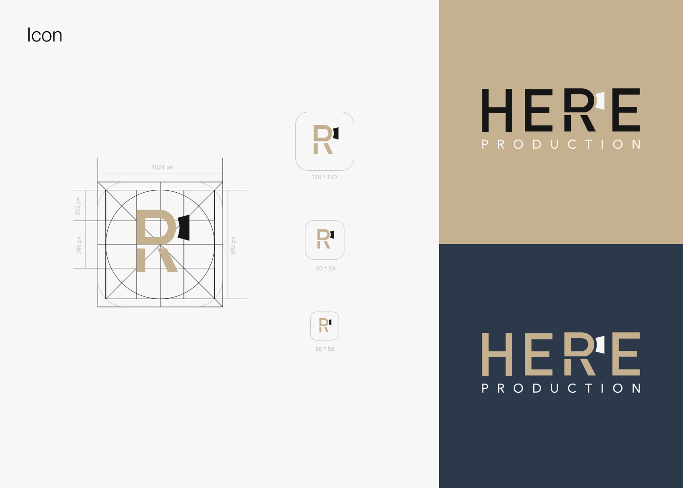 Here Production | Logo & Brand Identity Design