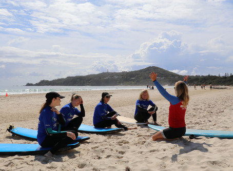 """Cheer up, slow down, chill out"" when surfing in Byron Bay"