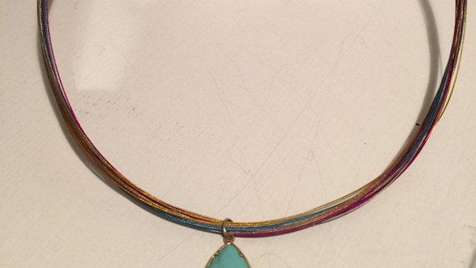 Rainbow Beadalon Necklace with Turquoise Pendant