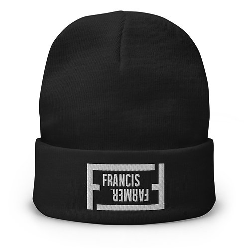 Francis Farmer - Embroidered Beanie - White Stitch