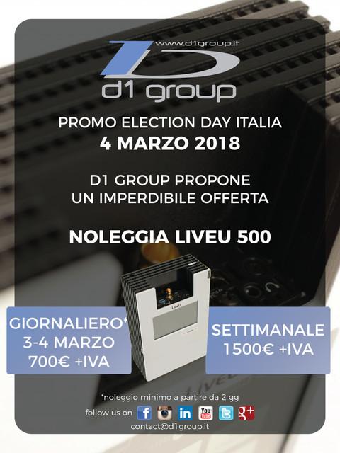 Election day il 4 marzo: Noleggia un LiveU 500 e vai in live!