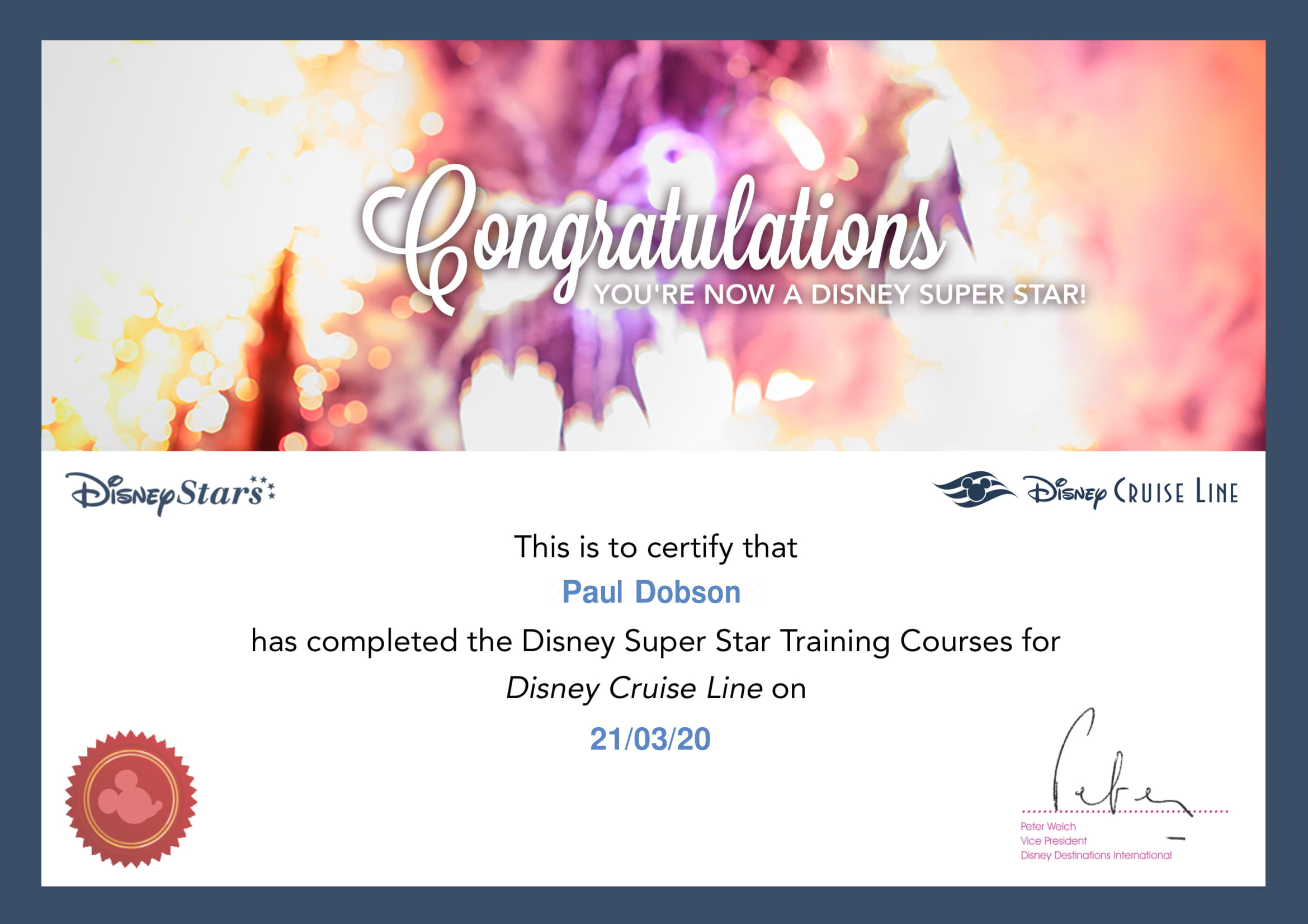 Disney Cruise Line - Superstar - Certificate