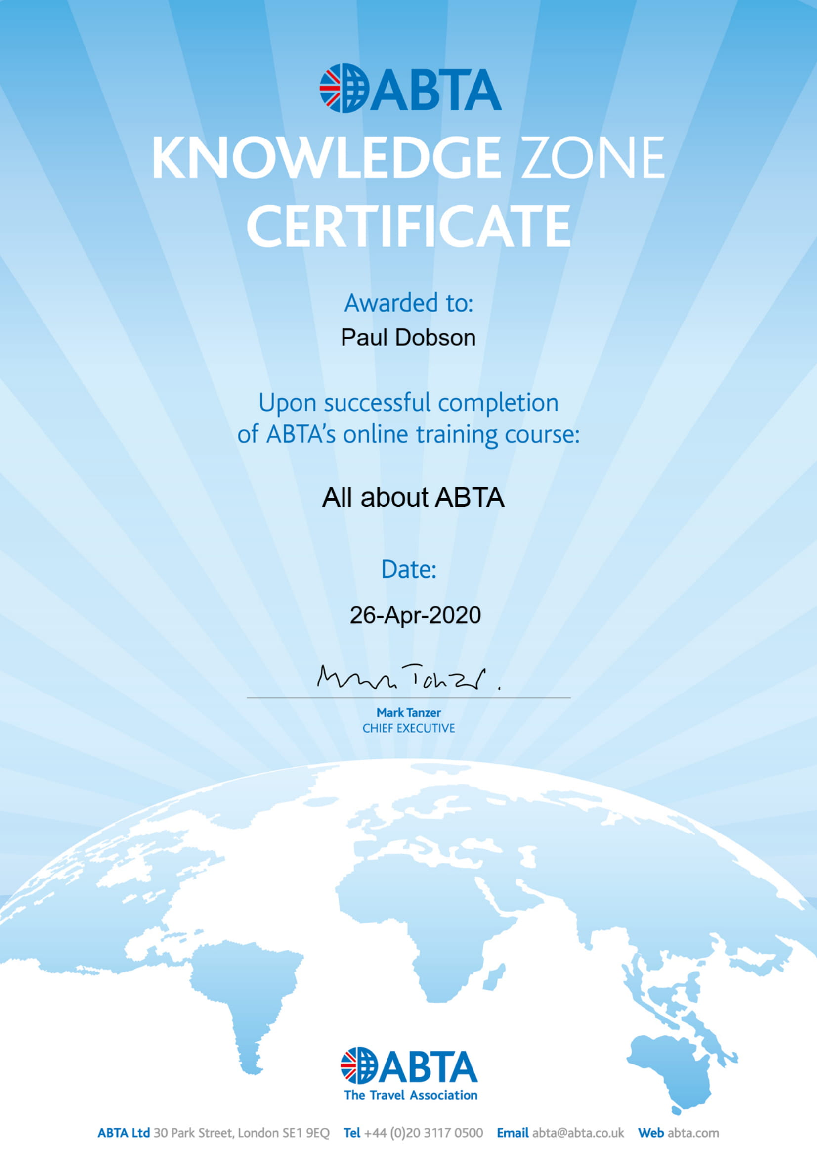 All About ABTA Certificate
