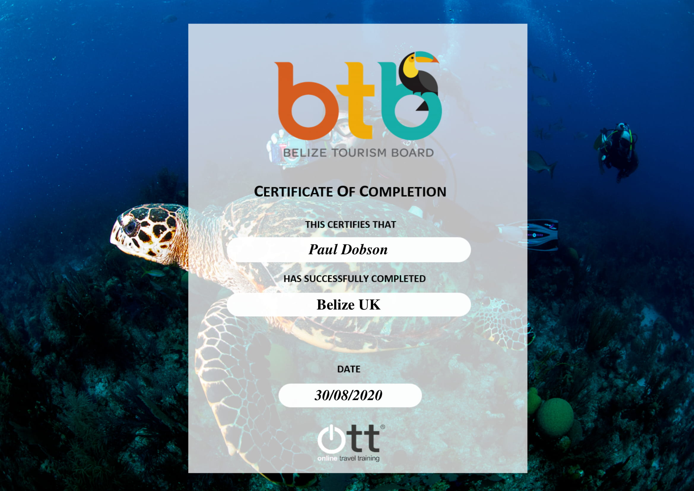 Belize Tourist Board Certificate