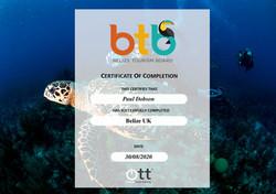 Belize Tourist Board Certificate