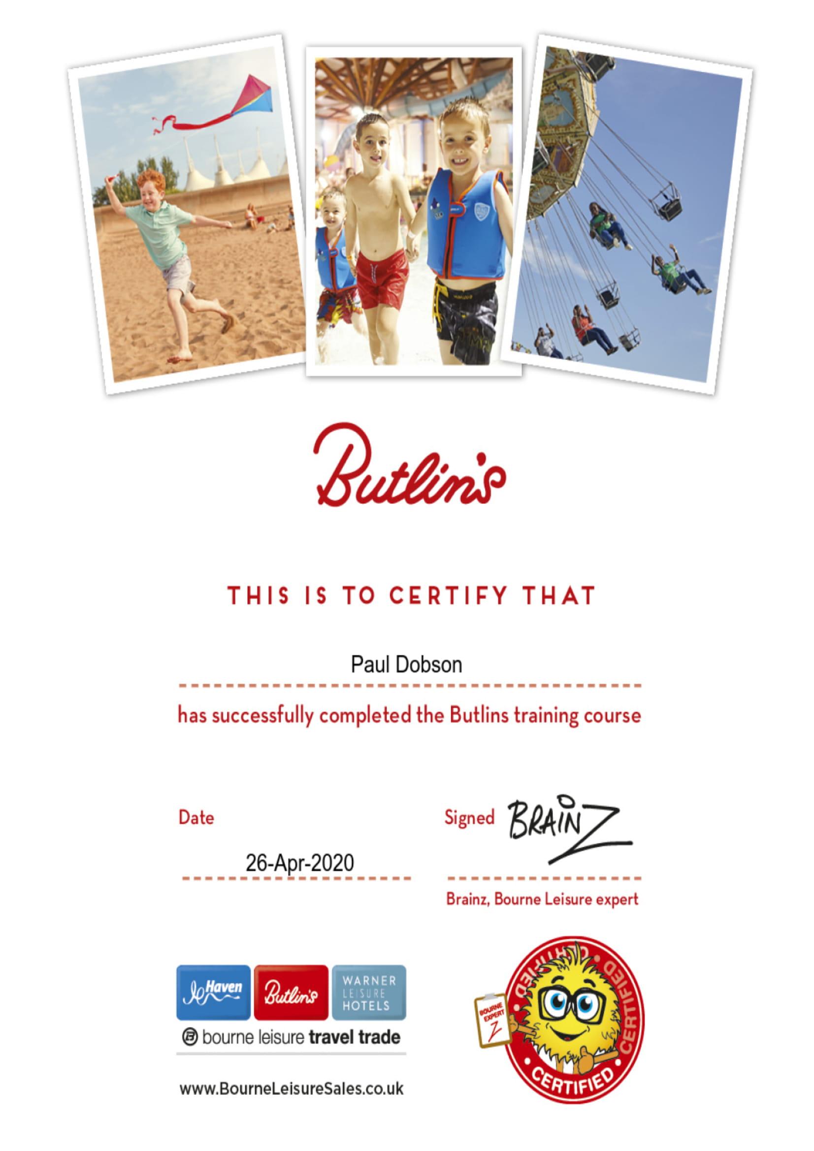 Butlin's Training - Certificate