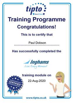 Inghams Certificate