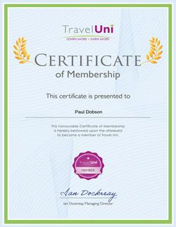 Travel Uni Member Certificate