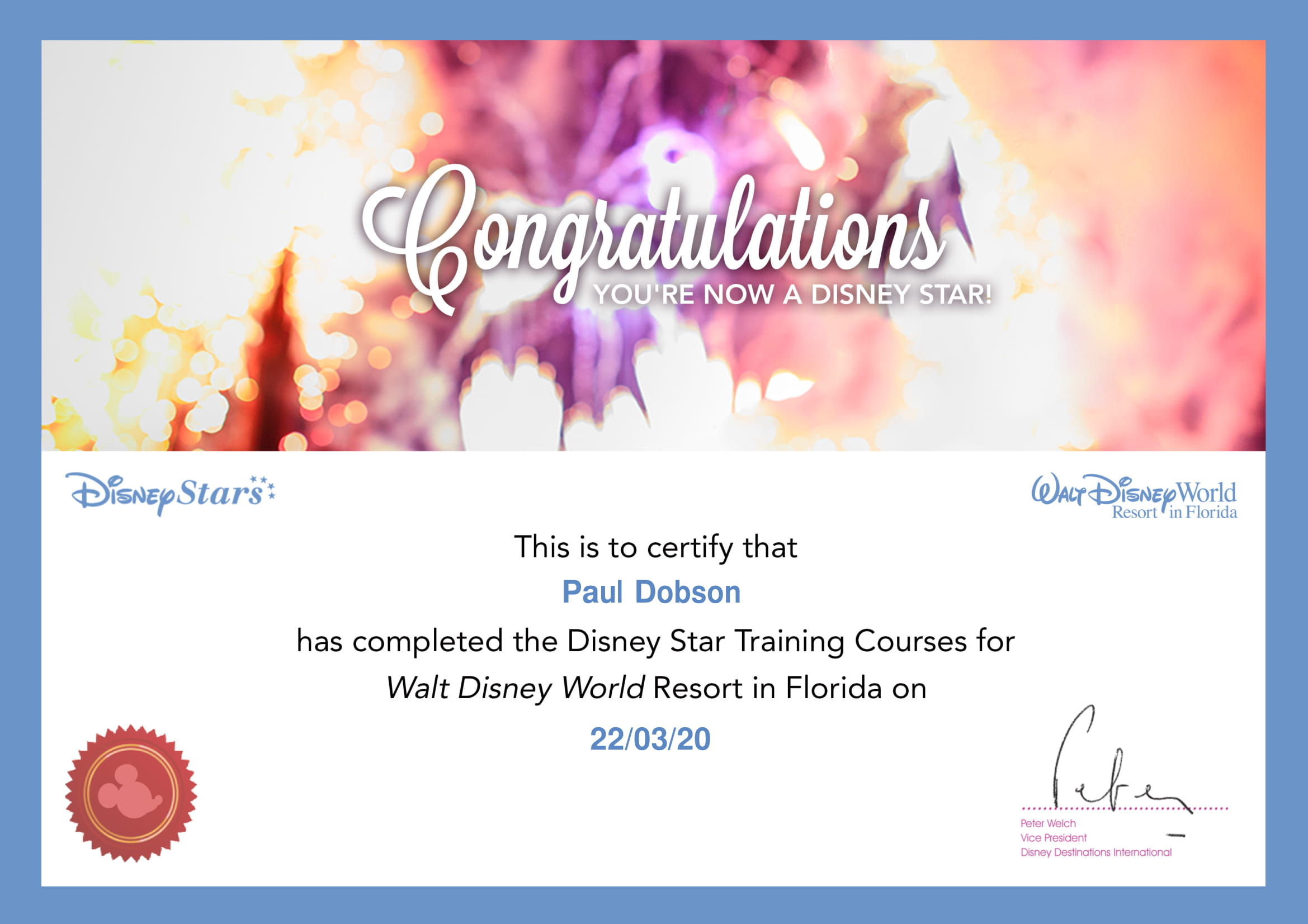 Walt Disney World - Star - Certificate