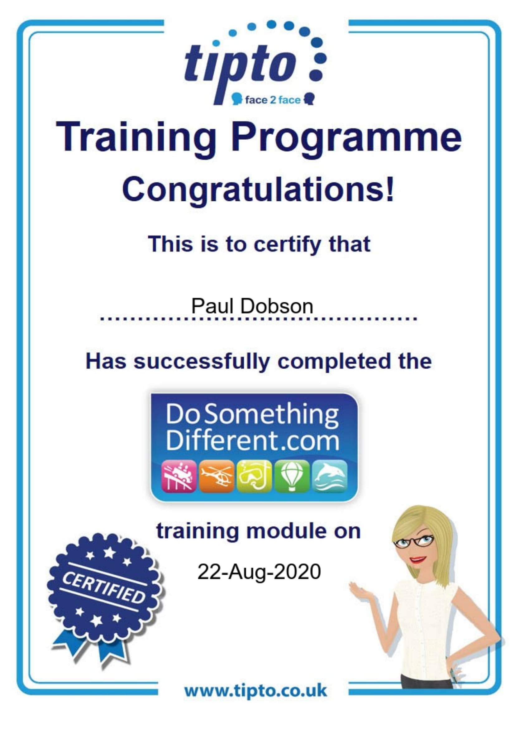 DoSomethingDifferent Certificate