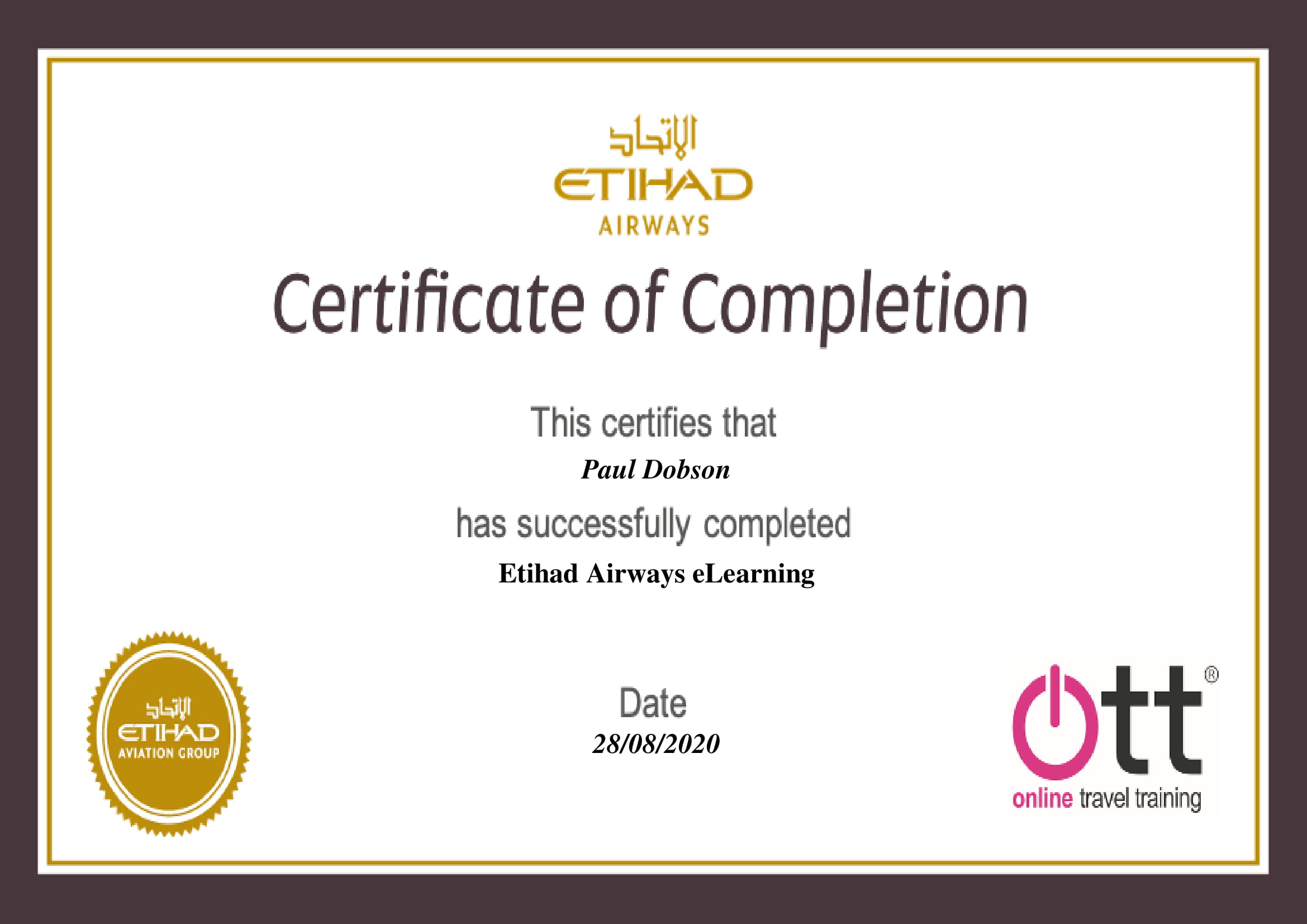 Etihad Airways Certificate
