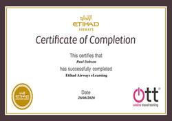 Etihad Airways Certificate