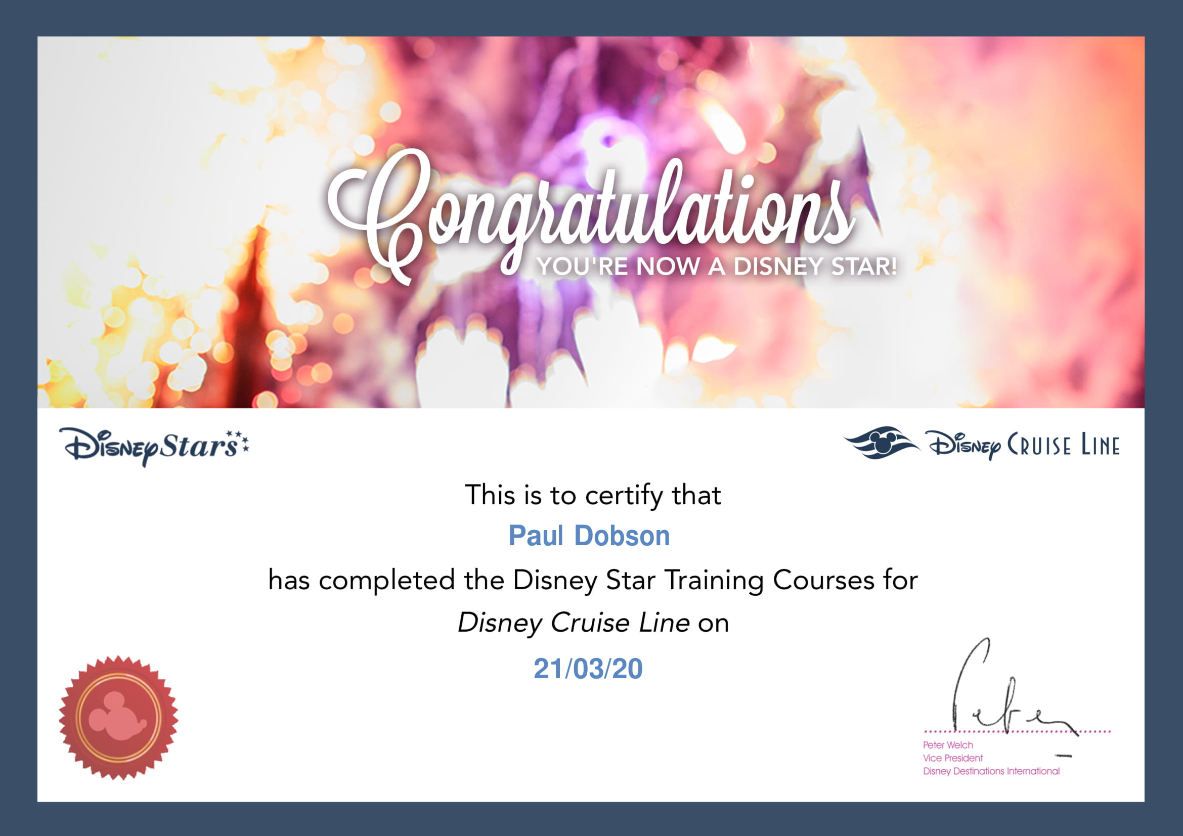 Disney Cruise Line - Star - Certificate