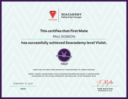 VirginVoyages Seacademy level Violet Certificate