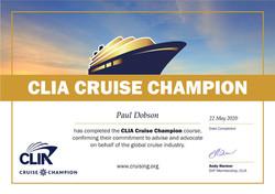 CLIA Cruise Champion Certificate
