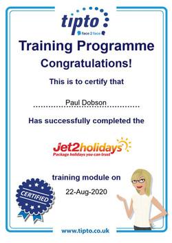 Jet2holidays Certificate
