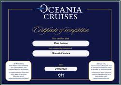 Oceania Cruises Certificate